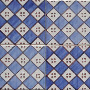 Carreaux motif bleu et manganèse