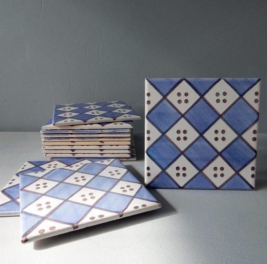 Carreaux faïence Ponchon bleu et manganèse